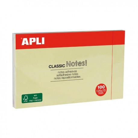 Notite adezive Apli, 125 x 75 mm, 100 file, galben