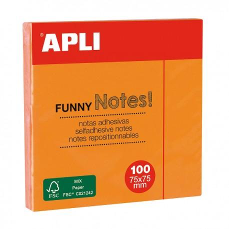 Notite adezive Apli, 75 x 75 mm, 100 file, orange