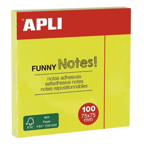 Notite adezive Apli, 75 x 75 mm, 100 file, galben