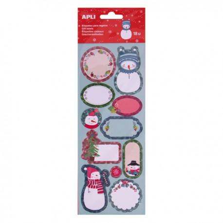 Etichete Apli, pentru cadouri, design om de zapada, 18 etichete