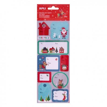 Etichete Apli pentru cadouri, design Craciun, 9 etichete