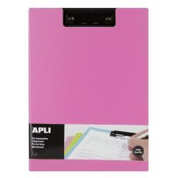 Clipboard dublu premium Apli, format A4, realizat din polipropilena, roz