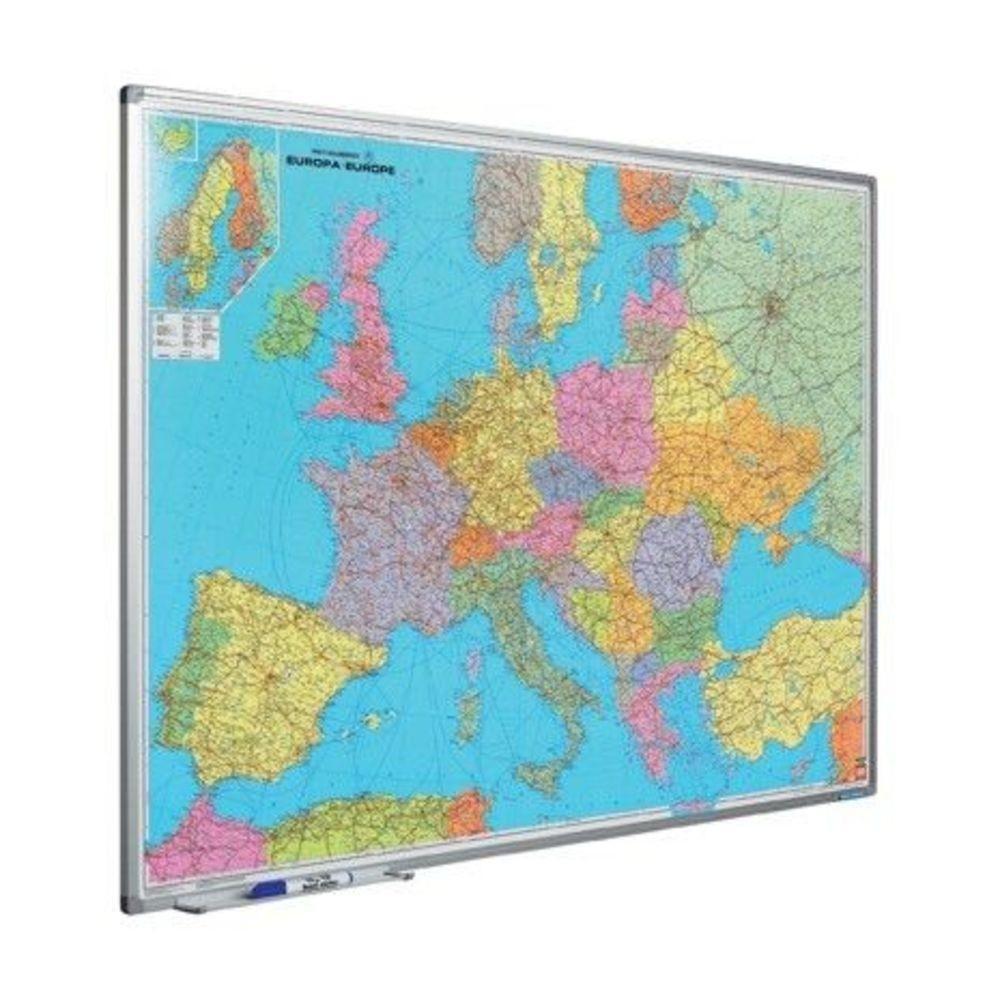 Harta Europei (rutiera+administrativa) 90 x 120 cm, profil aluminiu SL, SMIT