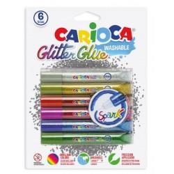 Lipici Glitter, lavabil, 6 culori/blister, CARIOCA Glitter Glue Spark