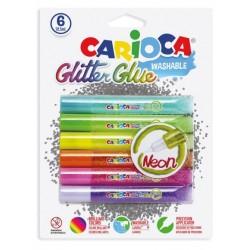 Lipici Glitter, lavabil, 6 culori/blister, CARIOCA Glitter Glue Neon