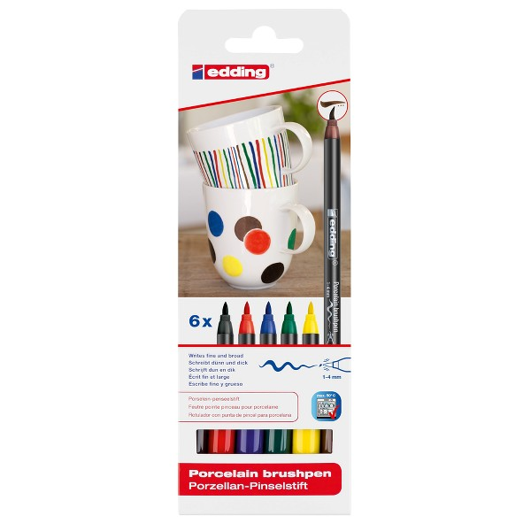 Marker Edding 4200 pentru portelan, culori reci, varf 1-4 mm, 6 bucati/set