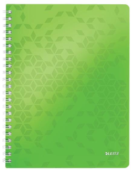 Caiet de birou LEITZ WOW, PP, A4, 80 coli, cu spira, matematica, verde