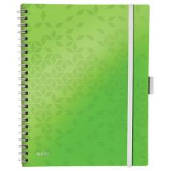 Caiet de birou LEITZ Wow Be Mobile, PP, A4, cu spira, matematica - verde