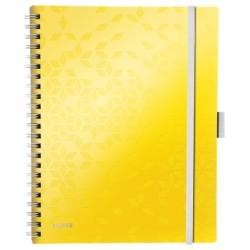 Caiet de birou LEITZ Wow Be Mobile, PP, A4, cu spira, matematica - galben