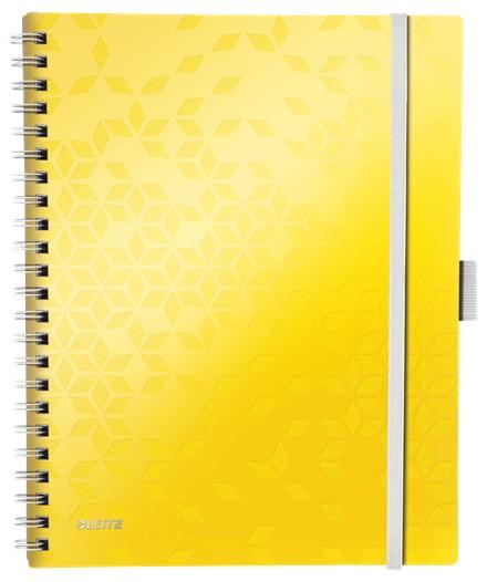 Caiet de birou LEITZ WOW Be Mobile, PP, A4, 80 coli, cu spira, matematica, galben