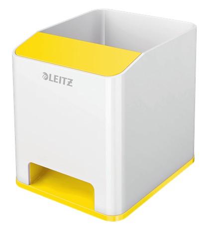 Suport instrumente de scris Leitz WOW, PS, cu amplificare sunet, culori duale, alb-galben