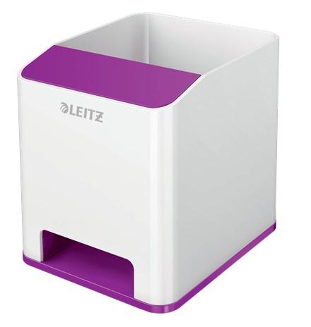 Suport instrumente de scris Leitz WOW, PS, cu amplificare sunet, culori duale, alb-mov