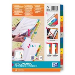 Index carton alb Mylar numeric 1-12, margine PP color, A4 XL, 170g/mp, OXFORD