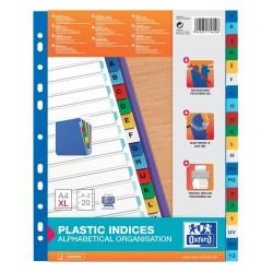 Index plastic color alfabetic A-Z, A4 XL, 120 microni, OXFORD