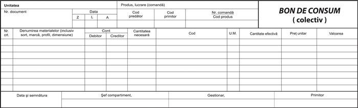 Bon consum colectiv, 2/A4, 100 file, fata-verso, 3 bucati/set