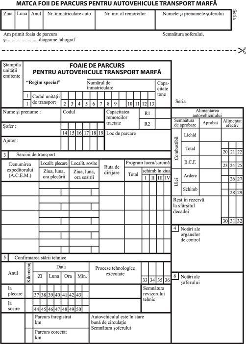 Foaie de parcurs autovehicule marfa, 3 carnete a 100 file/set