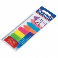 Index autoadeziv din plastic, Donau, 12x45mm, 8 culori, 25 file/culoare, atasate de rigla 12cm